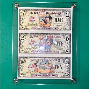 Disney Dollars Matching serial number set Framed